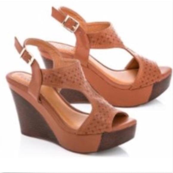 1054bbd03d9c Lady Godiva Open Toe Platform Wedge Sandal Tan 7.5